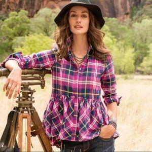 Sundance plaid flannel peplum top